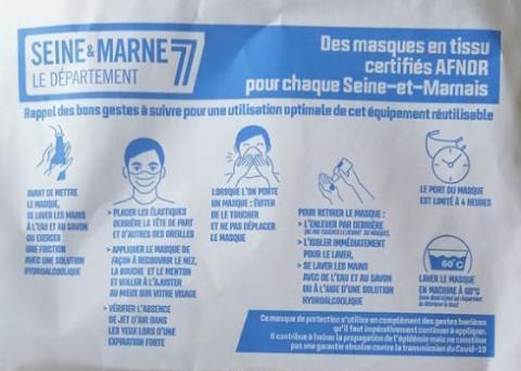 Distribution des masques fournit par le département de Seine et Marne